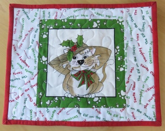 Christmas Cat Quilted Mug Rug, Handmade Quilted Christmas Snack Mat, Quilted Small Placemat, Christmas Mugrug, Quiltsy Handmade