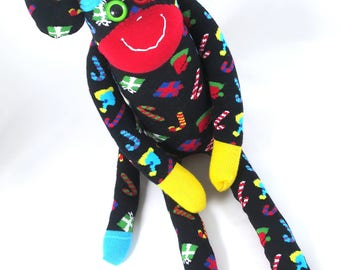XL Sock Monkey RUDOLF : happy socks, black, christmas, presents, candies, candy canes, primary, red, yellow, blue handmade plush toy softie.