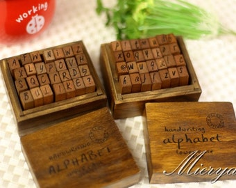 Antique Alphabet Stamp Set - Handwriting Alphabet - Rubber Stamp - Diary Stamp - Capital and Lowercase