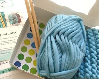 DIY knitting kit - super chunky yarn - basic knitting - wool - knitting kit - Free shipping