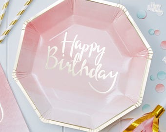 Gold Foiled Pink Ombre Happy Birthday Paper Plates - Pack of 8