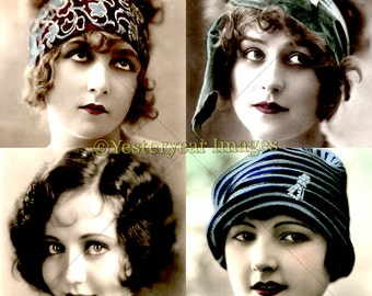 Vintage 1920s FLAPPER GIRLS Photos - Digital Images Collage Sheets - Instant Download - 3 PNG Files 4x4 - 2x2 - 1x1