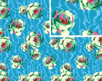 Flowing Buds - TURQUOISE - PER 25CM - Amy Butler - HAPI - PWAB119 - 100% Cotton Quilt Fabric