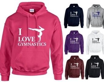 I Love Gymnastics Adults Hoodie Hooded Sweatshirt - Funny/Sport/Support/Gym/Gift