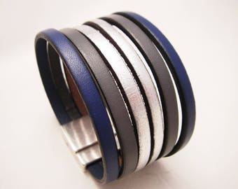 leather cuff Navy gray and silver