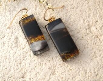 Animal Print Earrings, Glass Earrings, Dichroic Jewelry, Fused Glass Jewelry, Gold Filled Earrings, Dangle Drop Earrings,  032315e101