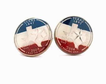 Texas Cufflinks Suit Flag State Coin Jewelry USA United States America Lone Star Cowboy Houston San Antonio Dallas Austin