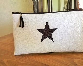 White faux leather clutch bag POUCH