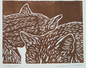 "Sleeping cats block print - ""Tabby love"" hand-pulled print of tabby cat siblings"