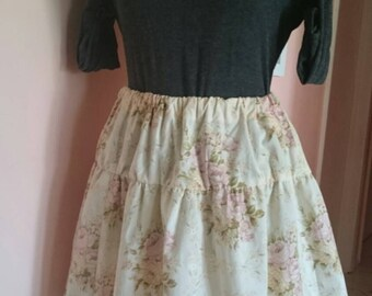 Ladies Girls Handmade Floral Vintage Cotton Skirt with Elastic Waist Size 10-12 AU One Only.