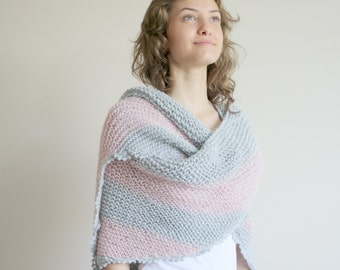 Handmade Silver Grey and Soft Pink Striped Triangle Shawl scarf collar Capelet Cowl Mothers day Gift Under75