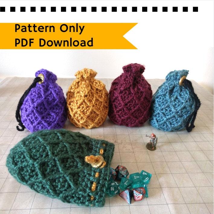 Pattern Dice Bag Dragon Egg Crochet Pattern Drawstring Bag