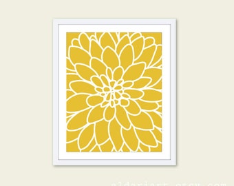 Dahlia Print Modern Flower Art Print Dahlia Wall Art Modern Decor Abstract Flower Print Custom Color Yellow Flower Print Office Wall Art