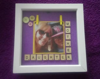 Mother and daughter scrabble tile photo frame