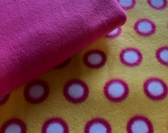 Throw Blanket Yellow Pink Circles Blanket Tie Kit Personalized Gift