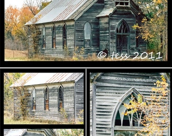 Old Wooden Church Photography Set - Photography Wall Art Set -   Wall Art - Set Of 4 Fine Art Prints - Country Church