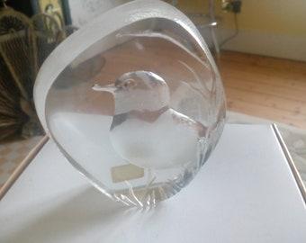 Mats Jonasson glass bird paperweight.  12110