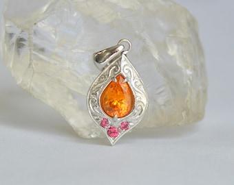 White Gold Mandarin Garnet Pendant, pear shaped pendant, hand engraved pendant, january birthstone pendant, burma spinel gemstones