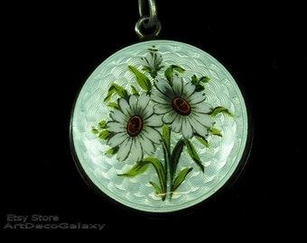 Antique Art Nouveau Guilloche Silver Enamel Floral Pendant