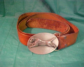 Pewter Belt Buckle Good Lab Prod.Custom Made with Leaping Lab Signed by Artist Lou De Paolis w/Levis Leather Belt