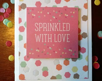 "Celebration Greeting Cards Set of 6. ""Throw Kindness Around Like Confetti,"" ""Sprinkled with Love,"" ""Hooray!"" Dimensional and iridescent"