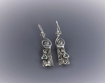 Item 4277 - Abstract Unique Lightweight Layered Fine and Sterling Silver Earrings with Stunning Blue Green CZ