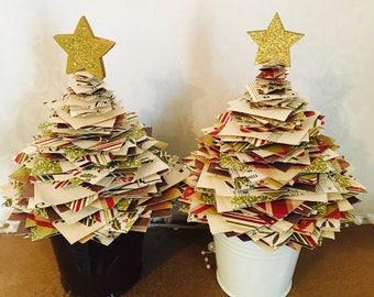Paper Christmas tree- christmas decoration- traditional christmas- reds and greens- handmade christmas- paper decoration- christmas gift