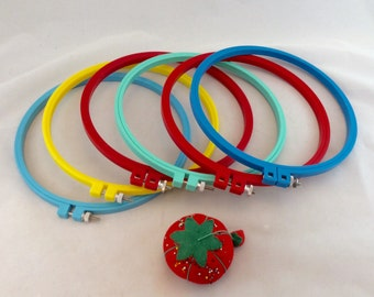 "Round Embroidery Hoops 8"" Plastic, Colorful Embroidery Hoops, 8"" Plastic Embroidery Hoops"