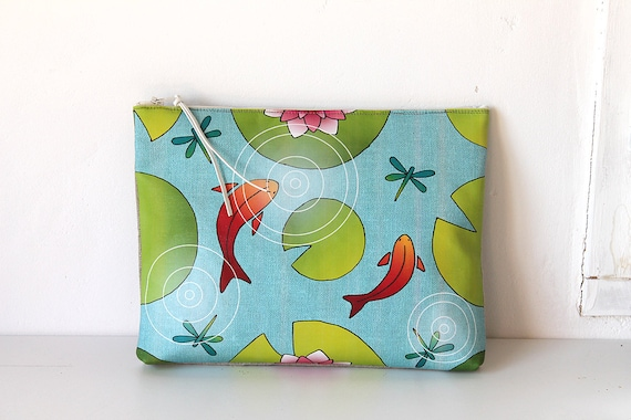 """Large illustrated """"waterlilies and goldfish"""" linen bag"""