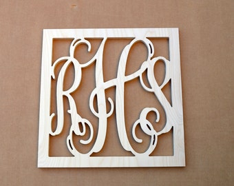 "18"" Inch Large  Vine Connected Wooden Monogram Letters with SQUARE border, Unfinished,Unpainted, Family decor, wedding"