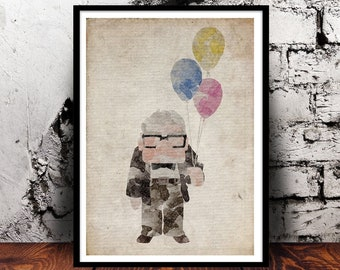 Up Carl Fredricksen Balloons Disney Pixar Paradise Falls A4 watercolour watercolour print kids room childs present