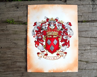 "Custom Family Crest / Original Coat of Arms - 11"" by 14""  personalized art in watercolor with gold leaf - custom wedding gift or unique gift"