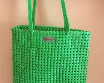 Miss Sixty Cute Shopping Bag/Tote bag, market bag, beach bag Plastic is Fantastic Bag! in bright Green, Made in Italy