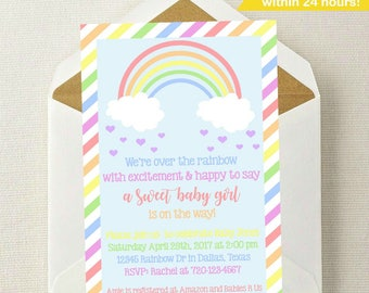 Rainbow Baby Shower Invitation // Rainbow Baby Shower // Rainbow Invitation // Rainbow Baby // Rainbow Invite // Baby Shower Invitation