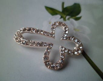 Cross Connector gold and rhinestone clear 43 mm