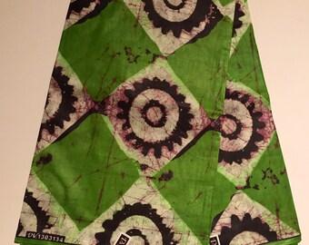 African print fabric, Green Batik, African Batik, Tribal print, African Ankara, African Material, sold by the yard