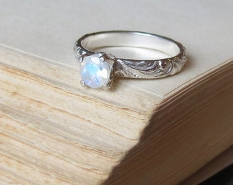 Rainbow Moonstone Ring in Sterling Silver Alternative Engagement Ring Bright Finish Promise Ring for Her Gemstone Solitaire Stacking Ring