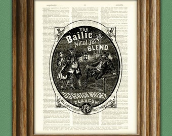 Old Scotch Whiskey Label on a beautifully upcycled vintage dictionary page book art print