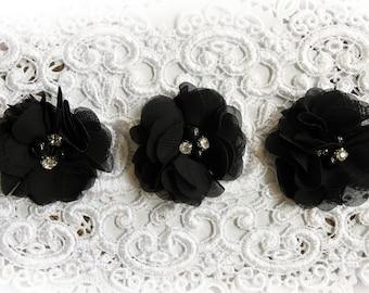 Reneabouquets Flower Set -- Black  Chiffon, Pearl And Rhinestone Fabric Flowers