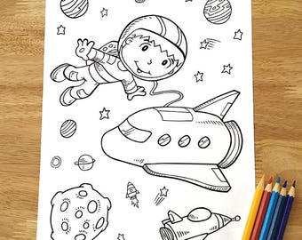 Cute Astronaut Outer Space Coloring Page! Downloadable PDF file!