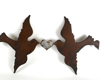 Love Birds Metal Wall Art, Plasma Cut Metal Art