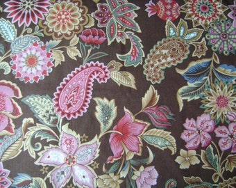 Traditional Toille Brown Cotton Fabric Sold by the Yard