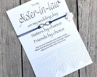 Sister in law gift, Sister in law bracelet Sister in law card, Sister in law of the bride, Gift for sister in law, Wish bracelet B6A