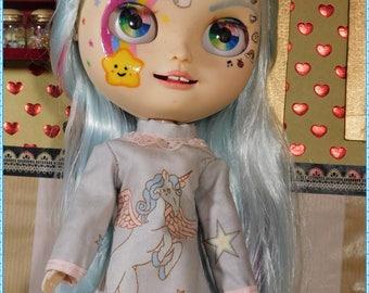 Simple unicorn dress for dolls Blythe, Pullip, 1/6 etc