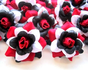 24 Red Black White Rainbow mini Roses Heads - Artificial Silk Flower - 1.75 inches - Wholesale Lot - for Wedding Work, Make clips, headbands
