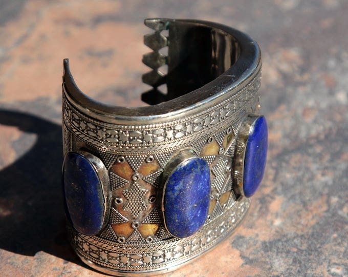 BRACELET (1pc) Turkoman Tribal Real LAPIS Gold Plated BellyDance 502a2