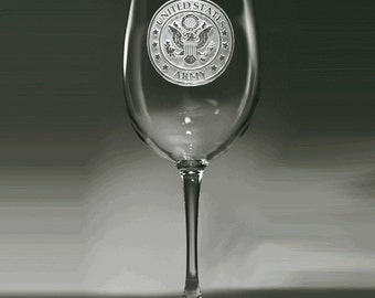 Army Wine Glass, Engraved Army Stemware Gifts
