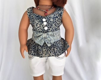 18 inch Doll Clothes. Doll top with peplum skirt and bow, doll shorts, doll hairband, doll tennis shoes and a special BONUS GIFT.