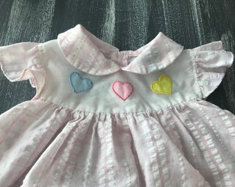 Vintage Cutie's by Judy Smocked Pink Dress 3 Hearts Peter Pan Collar Pastel 80s Dress