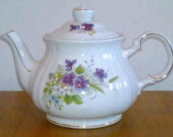 Sadler Teapot Violets Gold Trim